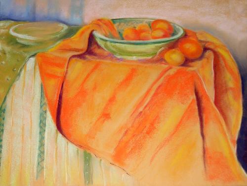 Owoce na pomarańczowej serwecie