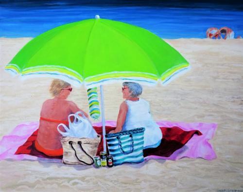 La playa, POD ZIELONYM PARASOLEM